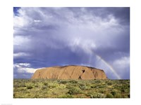 Rock formation on a landscape, Ayers Rock, Uluru-Kata Tjuta National Park Fine-Art Print