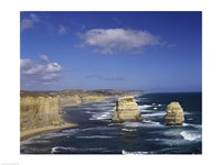 High angle view of rock formations in the ocean, Gibson Beach, Port Campbell National Park, Australia Fine-Art Print