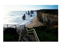 High angle view of rocks on the beach, Twelve Apostles, Port Campbell National Park, Victoria, Australia Fine-Art Print