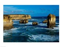 High angle view of rocks in the sea, Twelve Apostles, Port Campbell National Park, Victoria, Australia Fine-Art Print