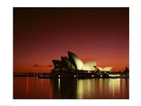 Opera house lit up at night, Sydney Opera House, Sydney, Australia Fine-Art Print