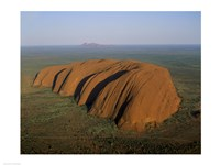 Aerial view of a rock formation. Ayers Rock, Uluru-Kata Tjuta National Park, Australia Fine-Art Print