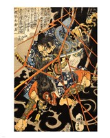 Li Hayata Hironao grappling with the monstruos nue Fine-Art Print