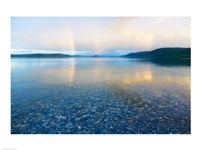 Reflection of a rainbow in a lake, Lake Khovsgol, Sayan Mountains, Russian-Mongolian border Fine-Art Print