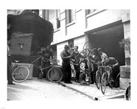 Taking care of  maintenance of the racing bicycles during a rest day in Belfort Fine-Art Print