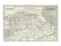 1780 Bonne Map of Northern South America, Columbia, Venezuela, Brazil Fine-Art Print