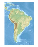 South America relief location map Fine-Art Print