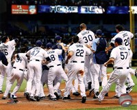 Tampa Bay Rays celebrate their 2011 AL Wild Card victory Fine-Art Print