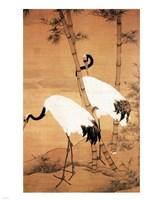 Bian Jingzhao Bamboo and Cranes Fine-Art Print