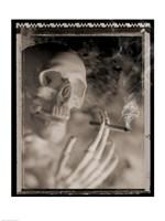 Side profile of a skeleton holding a cigarette Fine-Art Print