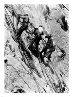 Drillers at work on canyon wall above power plant location Fine-Art Print