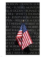 American flag at Vietnam Veterans Memorial Fine-Art Print