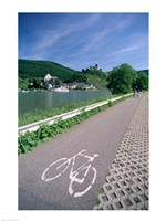 Cycle, Bicycle Path and Two Cyclists, Town View, Beilstein, Mosel Valley, Rhineland, Germany Fine-Art Print