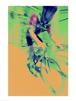 Young man riding a bicycle - yellow Fine-Art Print