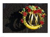 Wreath on the Vietnam Veterans Memorial Wall, Vietnam Veterans Memorial, Washington, D.C., USA Fine-Art Print
