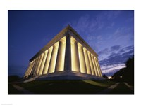 Low angle view of the Lincoln Memorial lit up at night, Washington D.C., USA Fine-Art Print