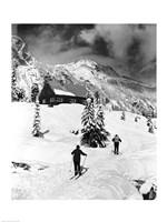 Rear view of two people skiing, Washington, USA Fine-Art Print