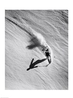 High angle view of a man skiing downhill Fine-Art Print