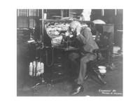 Thomas Alva Edison using his dicatating machine Fine-Art Print
