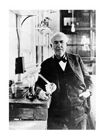 Thomas Edison with the first light bulbs Fine-Art Print