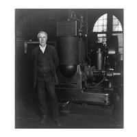Thomas Edison and his original dynamo 1906 Fine-Art Print
