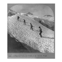 Washington - Mount Rainier Toiling up a steep snowfield Fine-Art Print
