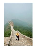 Tourist climbing up steps on a wall, Great Wall of China, Beijing, China Fine-Art Print