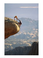 Two hikers with ropes at the edge of a cliff 2 Fine-Art Print