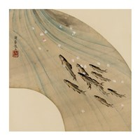 Fan-shaped drawing of fish swimming upstream Fine-Art Print