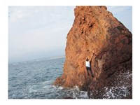 Deep Water Solo on a small rock at Point de l'Aiguille Fine-Art Print