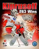 Miikka Kiprusoff Calgary Flames All-Time Wins Leader Composite Fine-Art Print