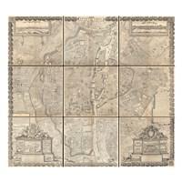 1652 Gomboust 9 Panel Map of Paris, France Fine-Art Print