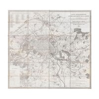 1852 Andriveau Goujon Map of Paris and Environs, France Fine-Art Print