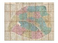 1867 Logerot Map of Paris, France Fine-Art Print