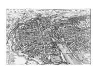 Paris bird's eye view 17th century Fine-Art Print