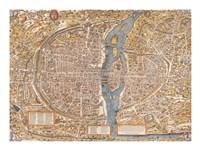 Plan de Paris map Fine-Art Print