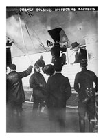 French soldiers inspecting Zeppelin Fine-Art Print