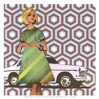 Girl with Car - mini Fine-Art Print