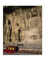 Buddha Statue in a Cave, Longmen Caves, Luoyang, China with Flowers Fine-Art Print