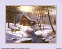 Log Cabin with Deer Fine-Art Print