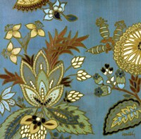 European Floral on Teal I Fine-Art Print