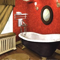 Red Farmhouse Bath I Fine-Art Print