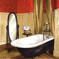 Red Farmhouse Bath II Fine-Art Print