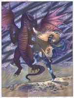 Dragon and Blue Knight Fine-Art Print