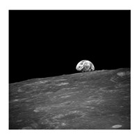 The first photograph taken by humans of Earthrise during Apollo 8. Fine-Art Print