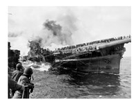 Attack on Carrier USS Franklin March 1945 Fine-Art Print