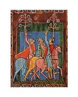 St. Albans Psalter, The Three Magi following the star Fine-Art Print