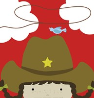 Peek-A-Boo Cowgirl Framed Print