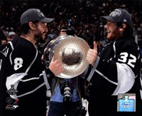 Drew Doughty & Jonathan Quick with the Stanley Cup Trophy after Winning Game 6 of the 2012 Stanley Cup Finals Fine-Art Print