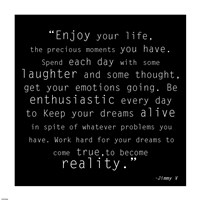 Enjoy Life, Jimmy V Quote Fine-Art Print